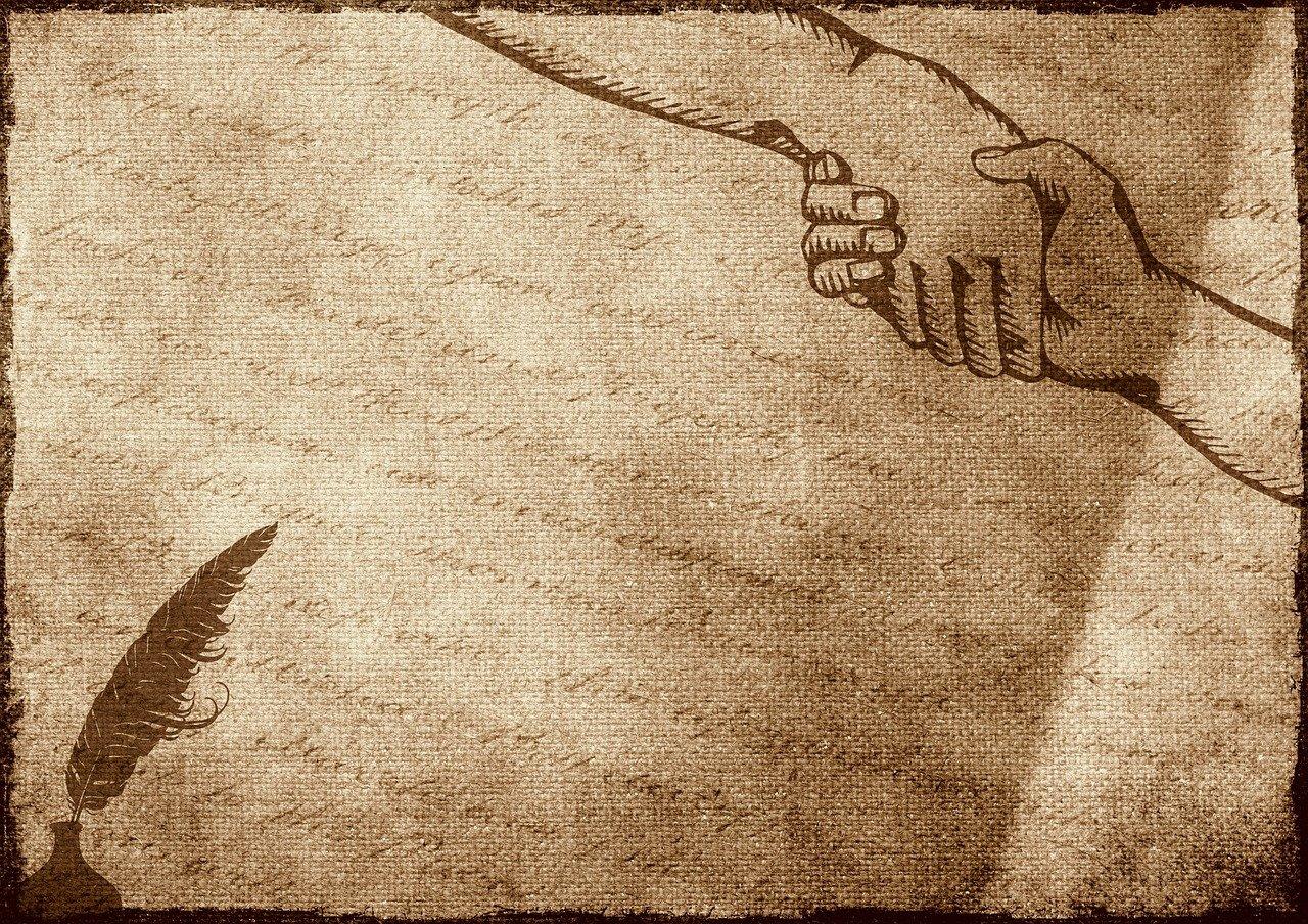 contract, handshake, feather
